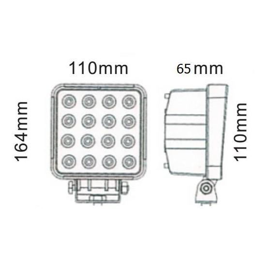 Foco De Trabajo Cuadrado Led S 48 W Faros, Focos y Barras de Trabajo LED